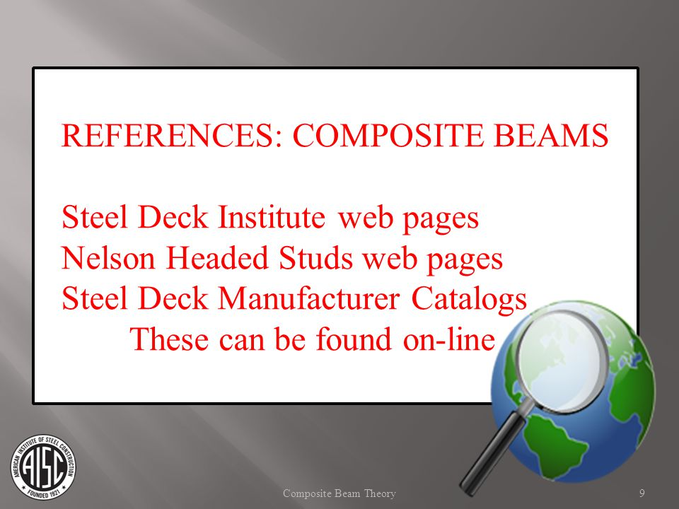 REFERENCES: COMPOSITE BEAMS Steel Deck Institute web pages Nelson Headed Studs web pages Steel Deck Manufacturer Catalogs These can be found on-line 9