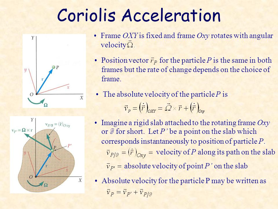 Coriolis Acceleration Frame OXY is fixed and frame Oxy rotates with angular velocity Position vector for the particle P is the same in both frames but the rate of change depends on the choice of frame.