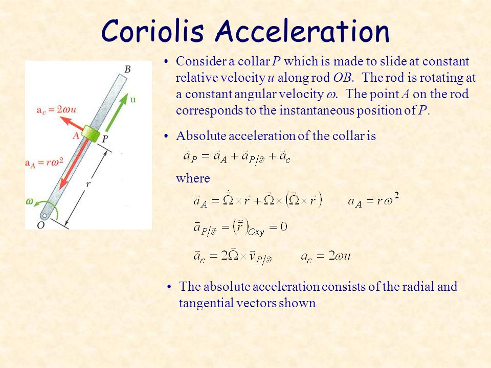 Coriolis Acceleration Consider a collar P which is made to slide at constant relative velocity u along rod OB.