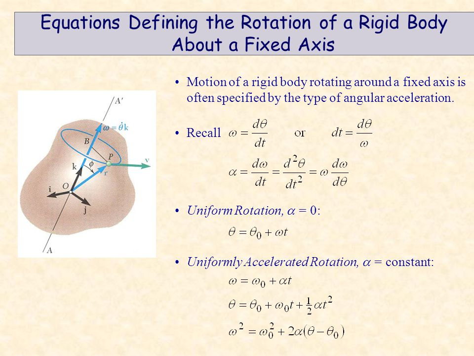 Equations Defining the Rotation of a Rigid Body About a Fixed Axis Motion of a rigid body rotating around a fixed axis is often specified by the type of angular acceleration.