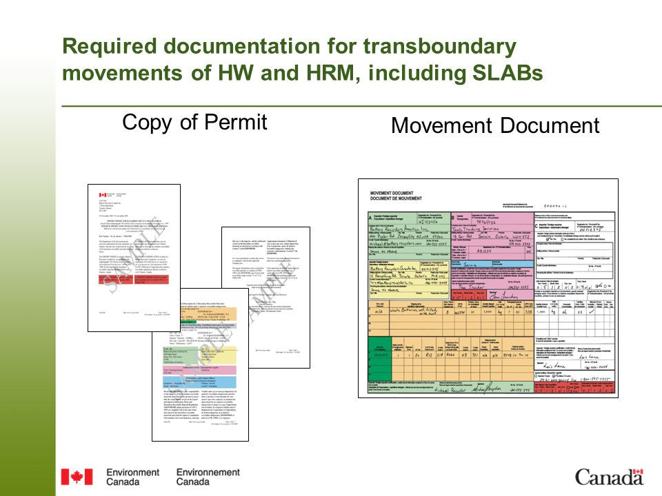 Required documentation for transboundary movements of HW and HRM, including SLABs Copy of Permit Movement Document