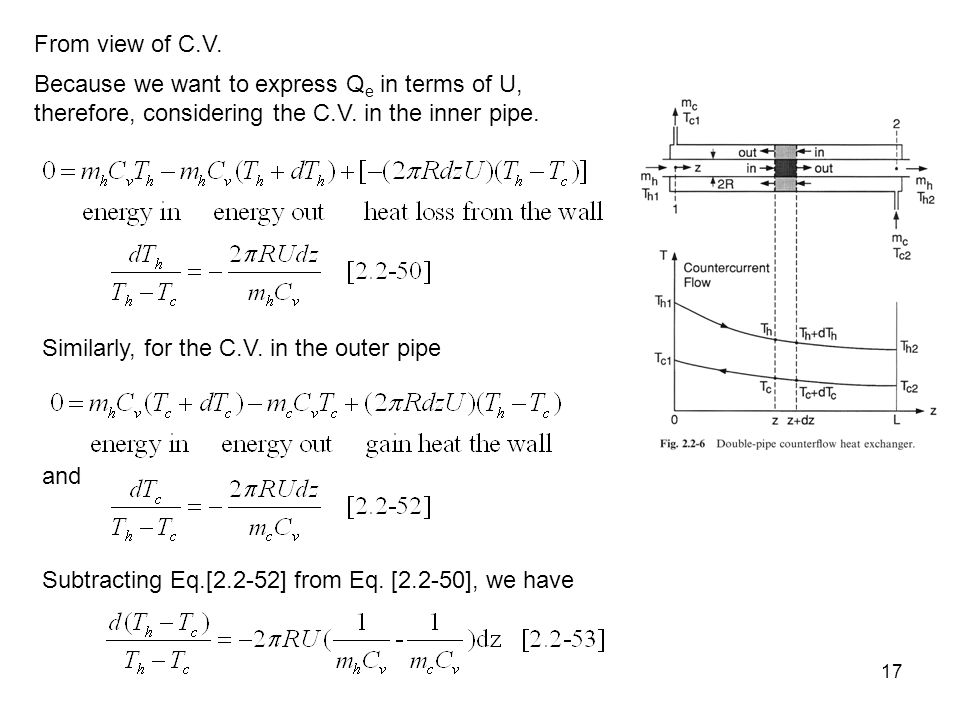 17 Because we want to express Q e in terms of U, therefore, considering the C.V.