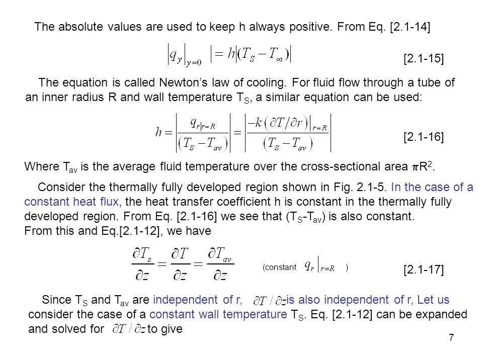 7 The absolute values are used to keep h always positive.