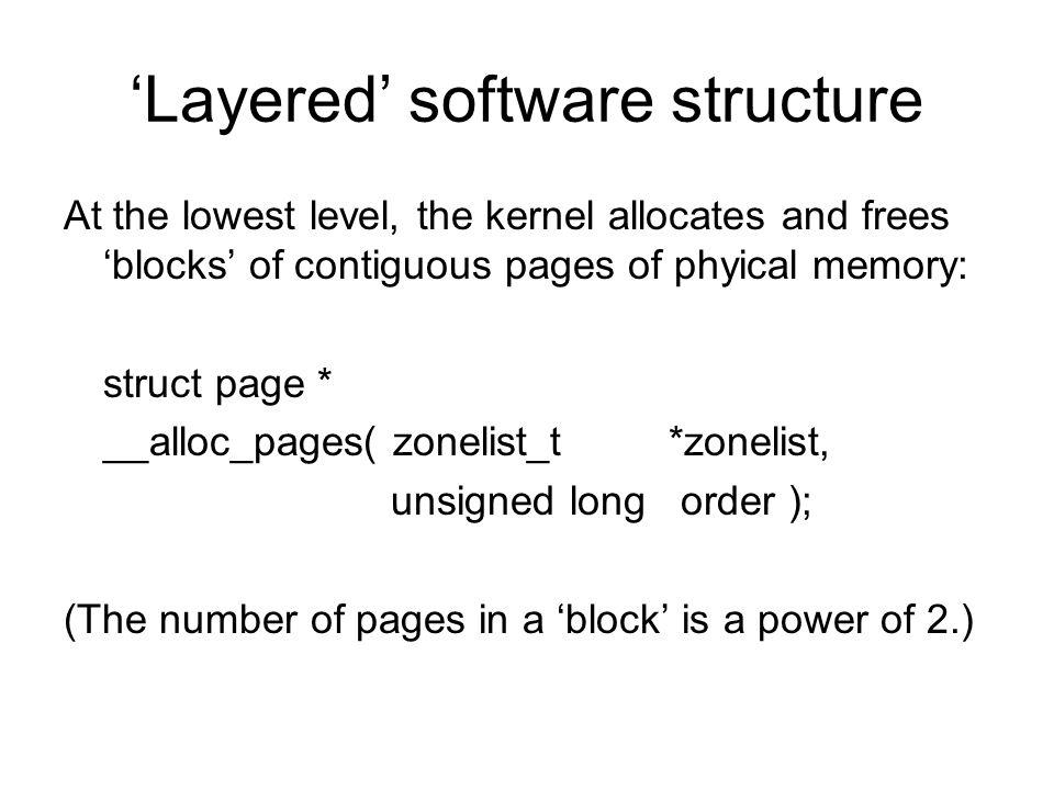 The zoned buddy allocator 128 KB 64 KB 32 KB 'splitting' a free memory region