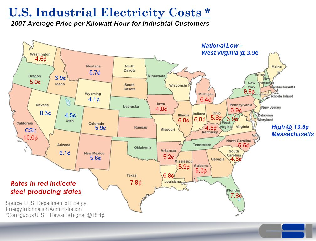 Rates in red indicate steel producing states U.S.