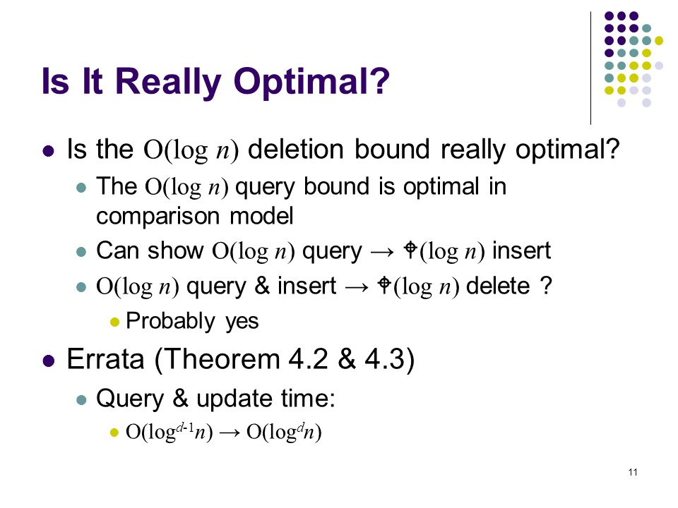 11 Is It Really Optimal. Is the O(log n) deletion bound really optimal.