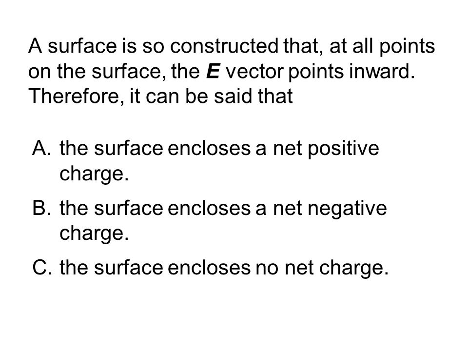 A surface is so constructed that, at all points on the surface, the E vector points inward.