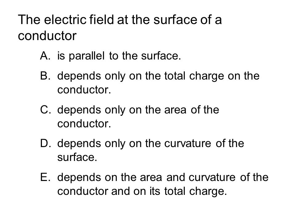 The electric field at the surface of a conductor A.is parallel to the surface.