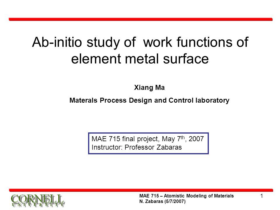 22 MAE 715 – Atomistic Modeling of Materials N.