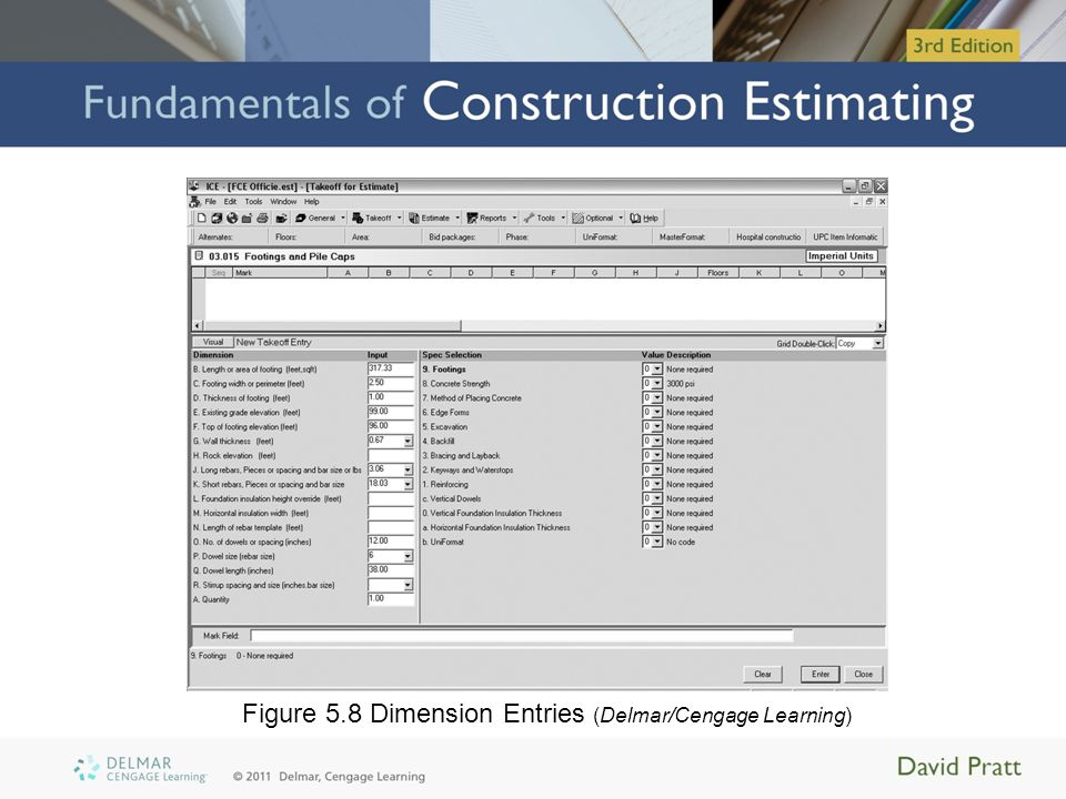 Figure 5.8 Dimension Entries (Delmar/Cengage Learning)