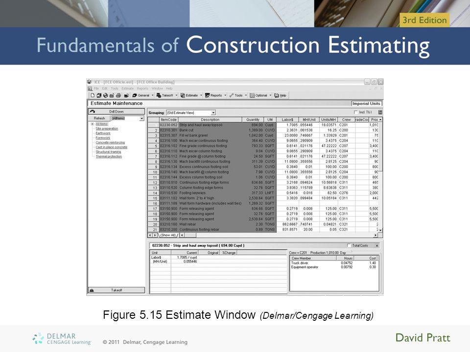 Figure 5.15 Estimate Window (Delmar/Cengage Learning)