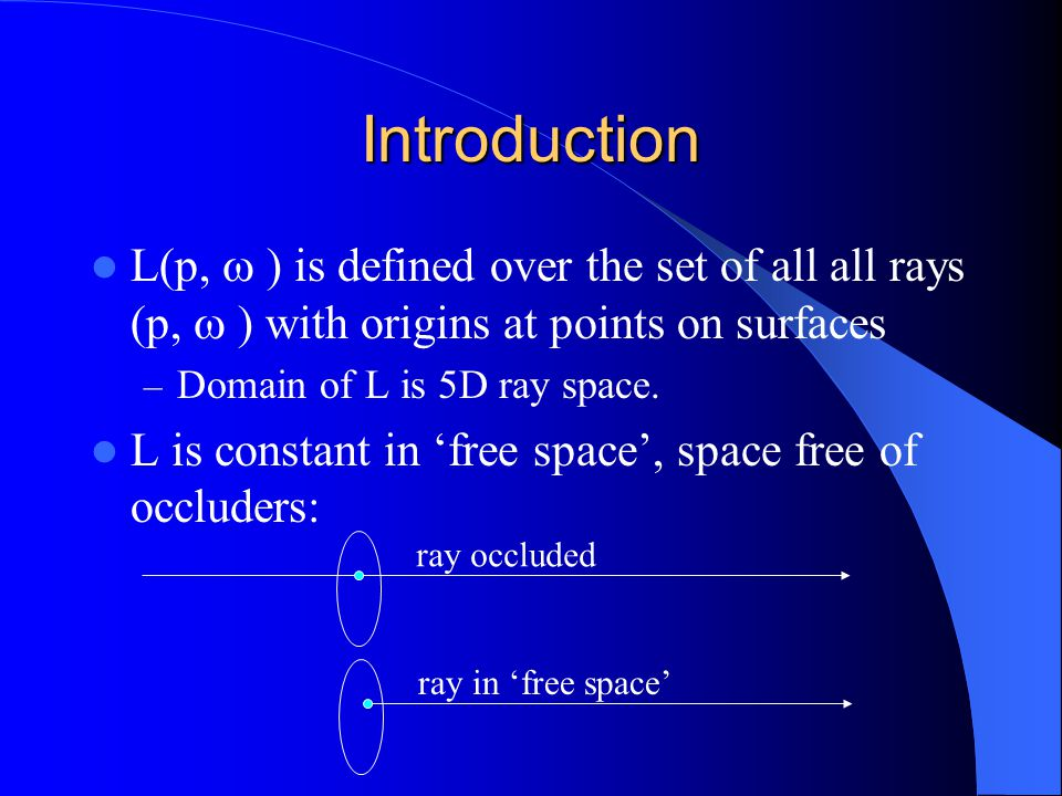 Introduction: Free Space Radiance is constant along each ray in free space emanating from the convex hull around the scene