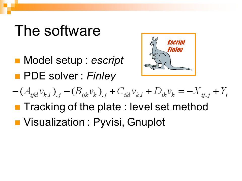 The software Model setup : escript PDE solver : Finley Tracking of the plate : level set method Visualization : Pyvisi, Gnuplot Escript Finley