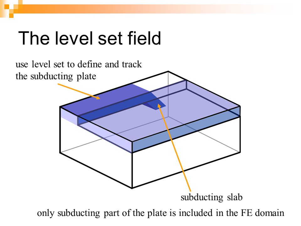 The level set field subducting slab only subducting part of the plate is included in the FE domain use level set to define and track the subducting pl