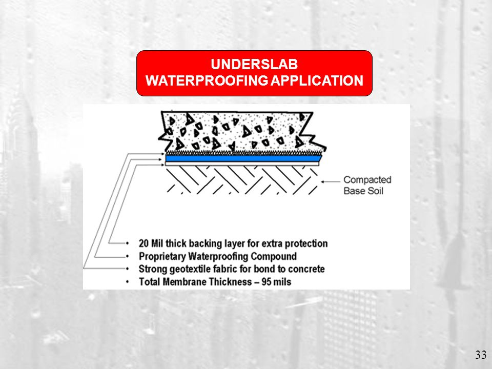 33 UNDERSLAB WATERPROOFING APPLICATION