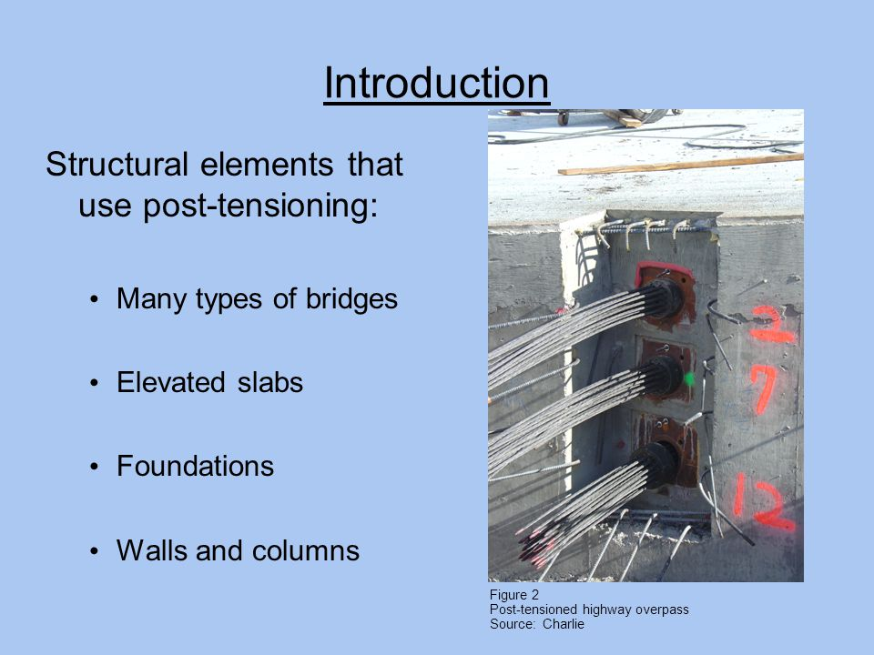 Introduction Structural elements that use post-tensioning: Many types of bridges Elevated slabs Foundations Walls and columns Figure 2 Post-tensioned