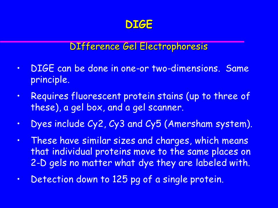 DIGE can be done in one-or two-dimensions.Same principle.