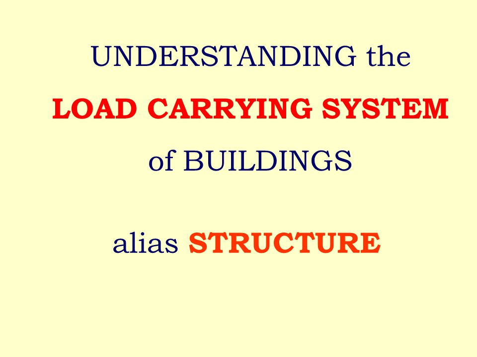alias STRUCTURE UNDERSTANDING the LOAD CARRYING SYSTEM of BUILDINGS