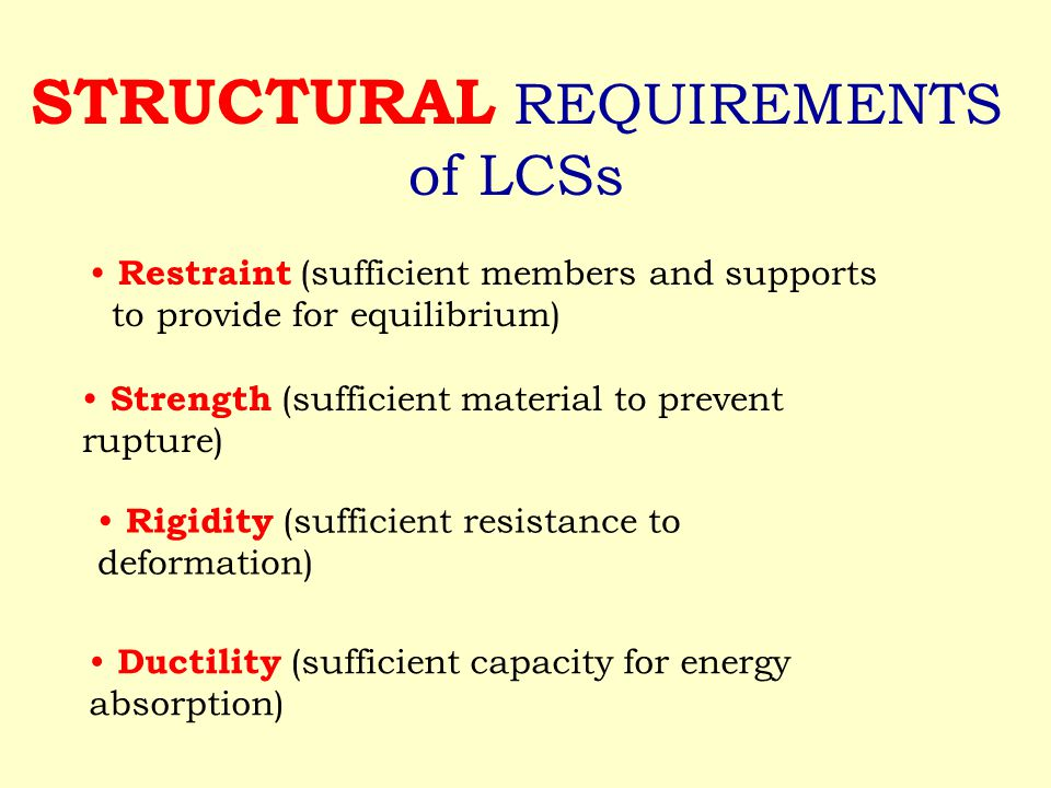 STRUCTURAL REQUIREMENTS of LCSs Restraint (sufficient members and supports to provide for equilibrium) Strength (sufficient material to prevent rupture) Rigidity (sufficient resistance to deformation) Ductility (sufficient capacity for energy absorption)
