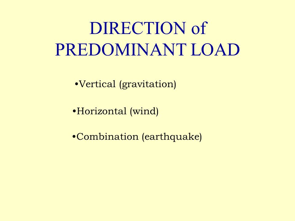 DIRECTION of PREDOMINANT LOAD Vertical (gravitation) Horizontal (wind) Combination (earthquake)