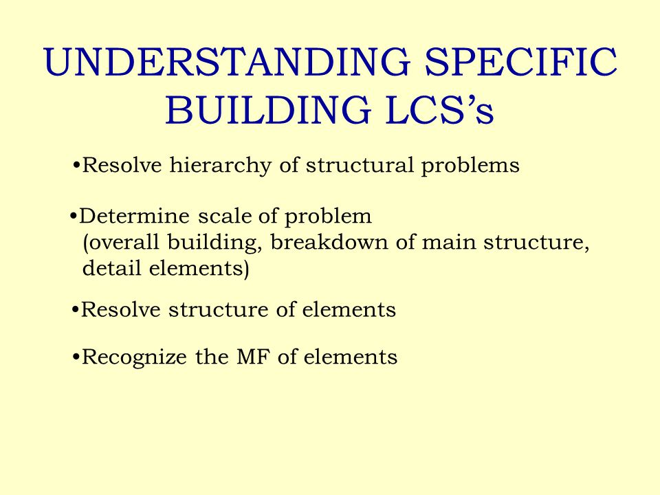 UNDERSTANDING SPECIFIC BUILDING LCS's Resolve hierarchy of structural problems Determine scale of problem (overall building, breakdown of main structure, detail elements) Resolve structure of elements Recognize the MF of elements