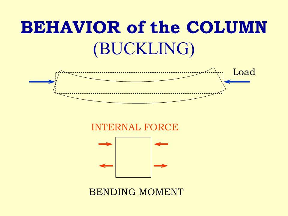 BEHAVIOR of the COLUMN (BUCKLING) BENDING MOMENT INTERNAL FORCE Load
