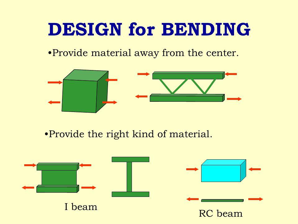 DESIGN for BENDING Provide material away from the center.