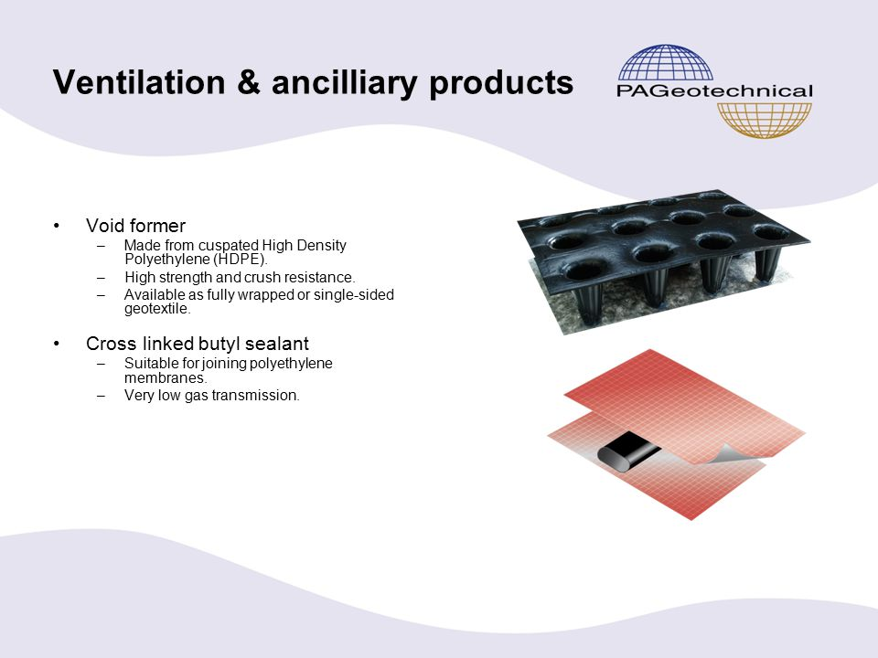 Ventilation & ancilliary products Void former –Made from cuspated High Density Polyethylene (HDPE).