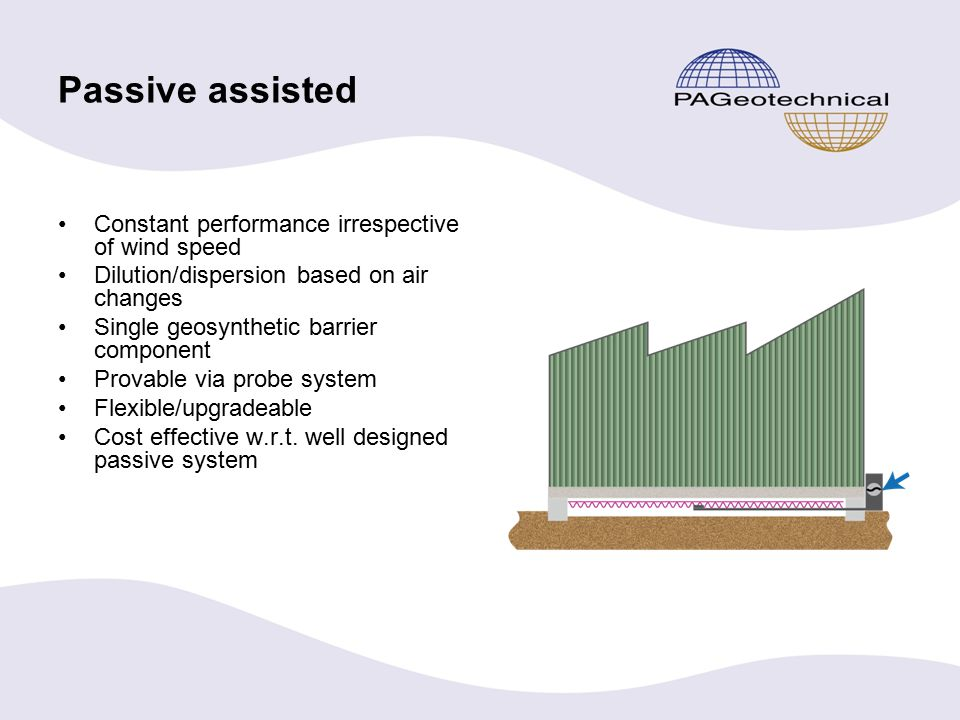 Passive assisted Constant performance irrespective of wind speed Dilution/dispersion based on air changes Single geosynthetic barrier component Provable via probe system Flexible/upgradeable Cost effective w.r.t.