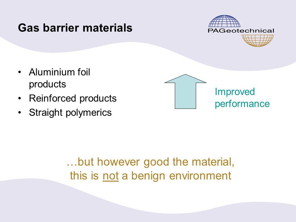 Membrane materials Standard gas barrier –Reinforced LDPE membrane including aluminium foil.
