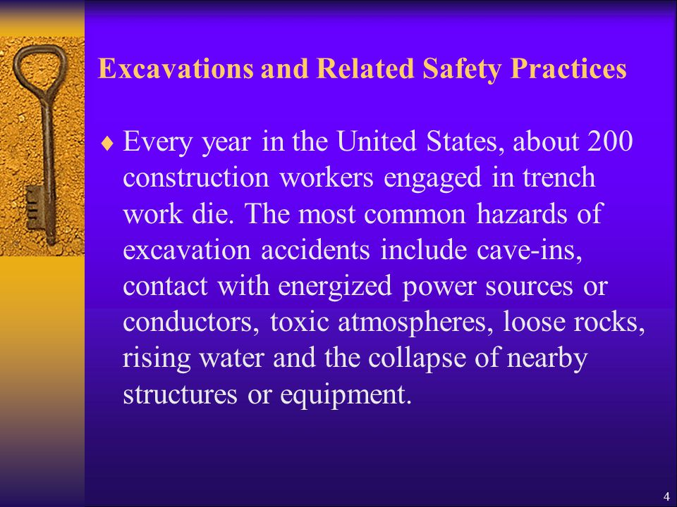 5 Excavations: General Requirements and Related Safety Practices  An excavation is a man-made cut, cavity or trench in the ground made by removing earth.