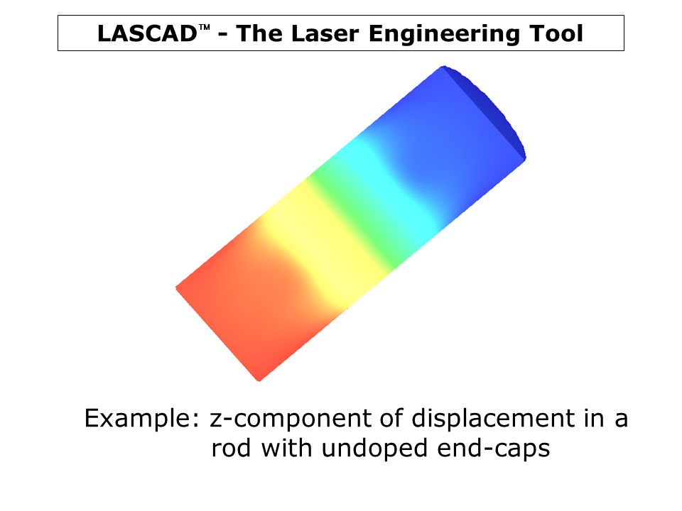 LASCAD  - The Laser Engineering Tool Example: z-component of displacement in a rod with undoped end-caps