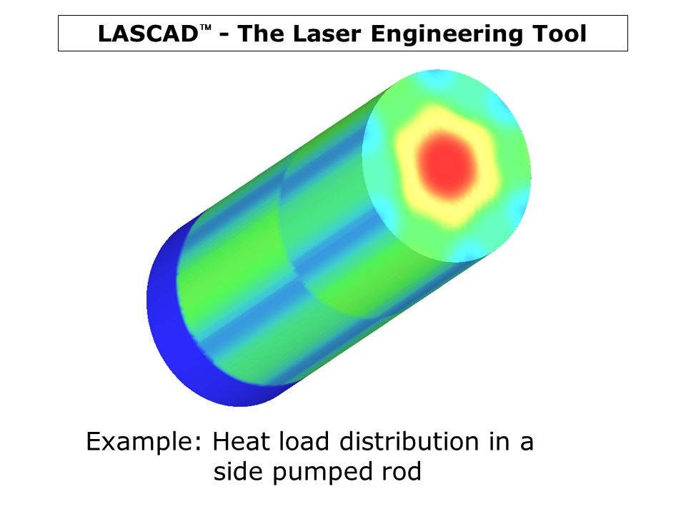 LASCAD  - The Laser Engineering Tool Example: Heat load distribution in a side pumped rod