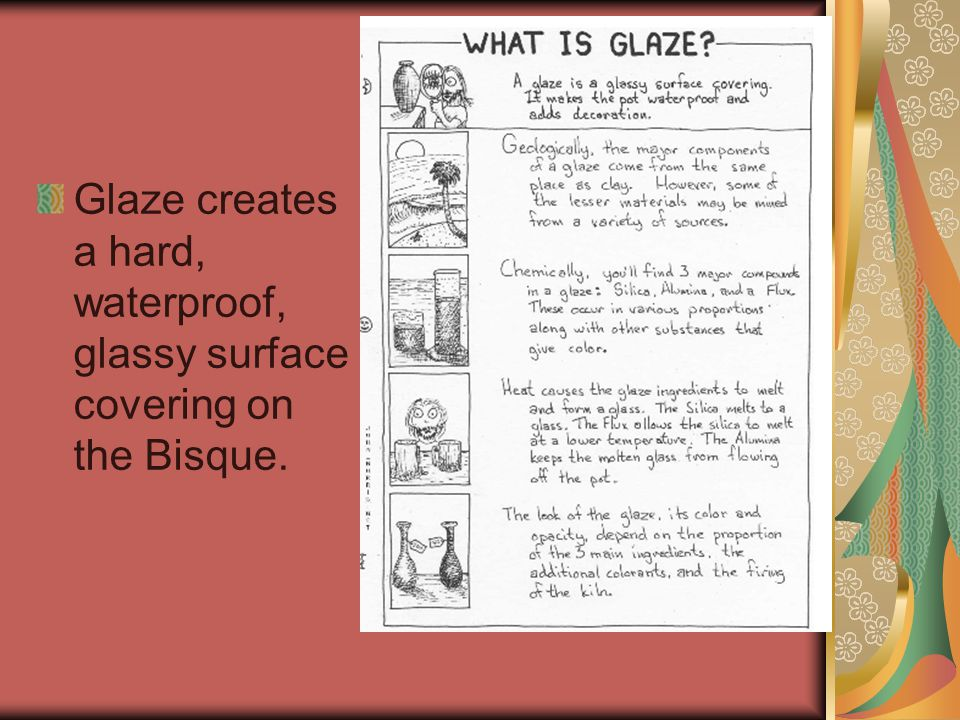 Glaze creates a hard, waterproof, glassy surface covering on the Bisque.
