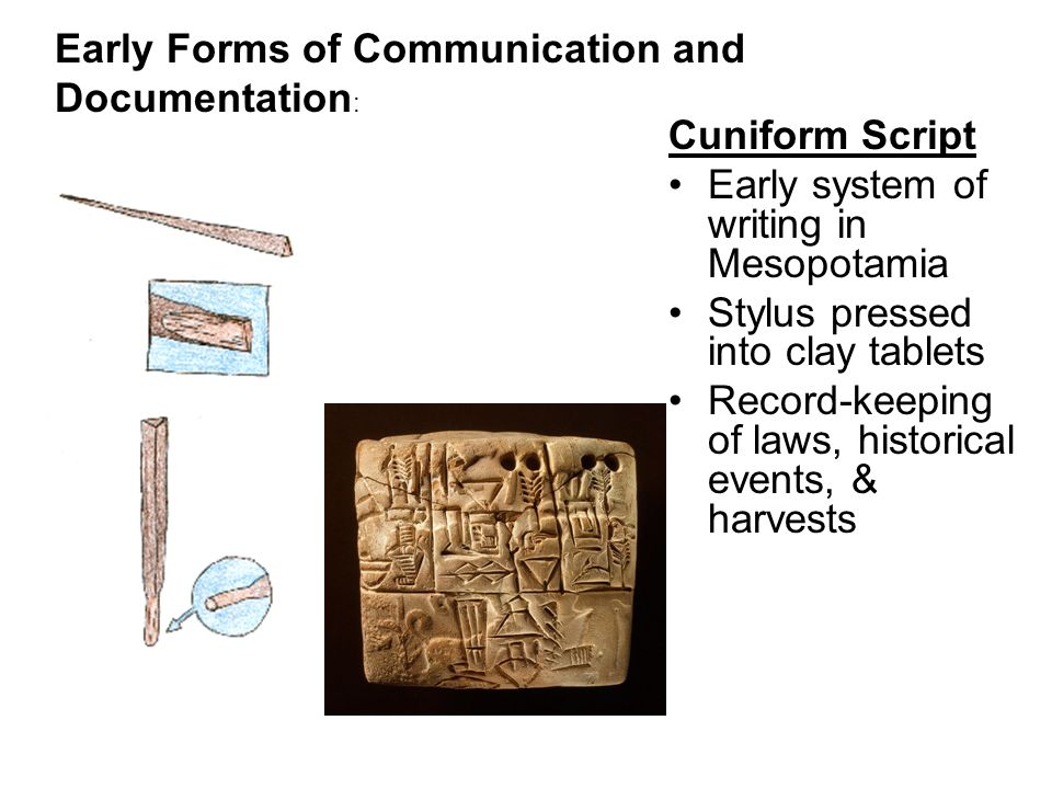 Cuniform Script Early system of writing in Mesopotamia Stylus pressed into clay tablets Record-keeping of laws, historical events, & harvests Early Forms of Communication and Documentation :