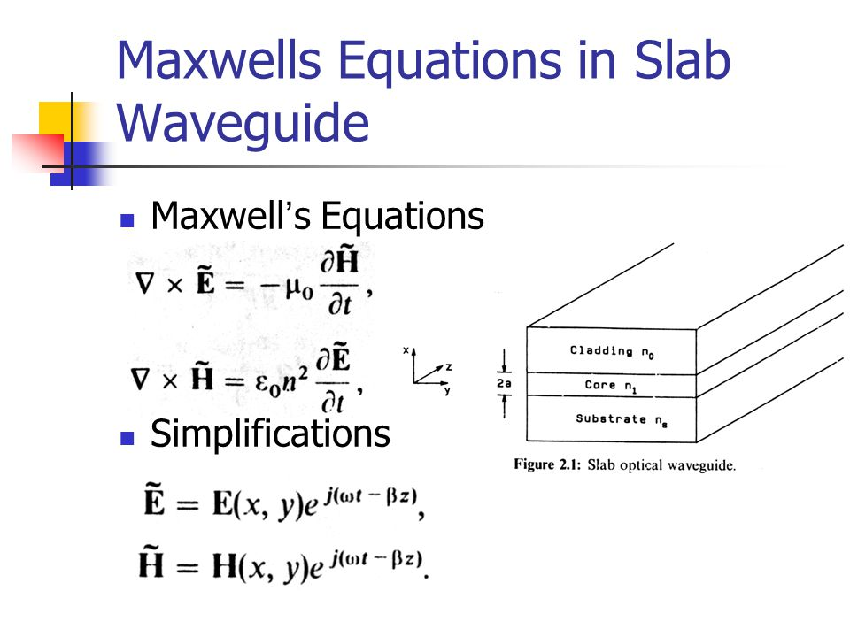 Maxwells Equations in Slab Waveguide Maxwell ' s Equations Simplifications