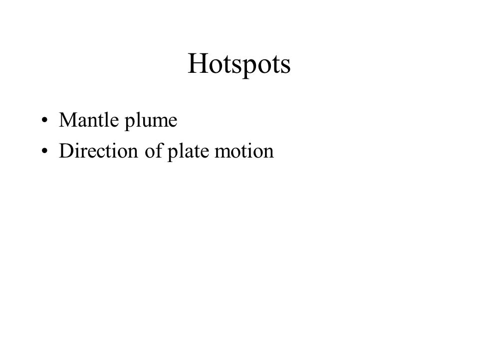Hotspots Mantle plume Direction of plate motion