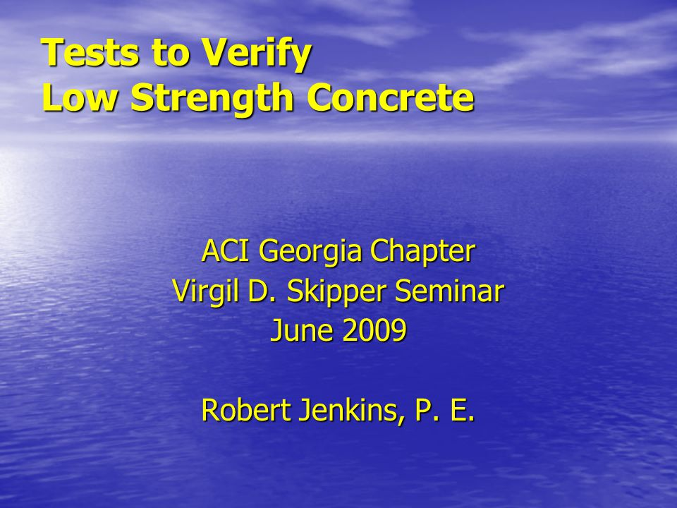 In-Place Methods to Estimate Concrete Strength ACI Report 228.1-03 ACI Report 228.1-03 Review of Test MethodsReview of Test Methods Statistical Characteristics of Test ResultsStatistical Characteristics of Test Results Development of Strength RelationshipDevelopment of Strength Relationship Implementation of In-Place TestingImplementation of In-Place Testing Interpretation and Reporting of ResultsInterpretation and Reporting of Results In-Place Tests for Acceptance of ConcreteIn-Place Tests for Acceptance of Concrete