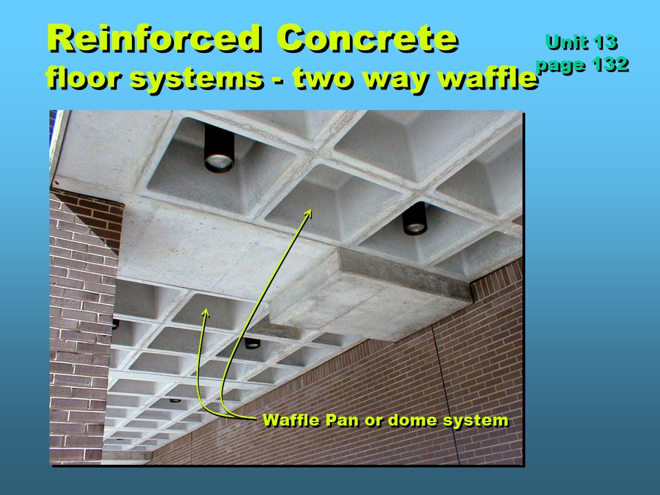 Reinforced Concrete floor systems - two way waffle Unit 13 page 132 Unit 13 page 132 Waffle Pan or dome system