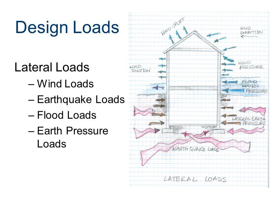 Design Loads Lateral Loads –Wind Loads –Earthquake Loads –Flood Loads –Earth Pressure Loads