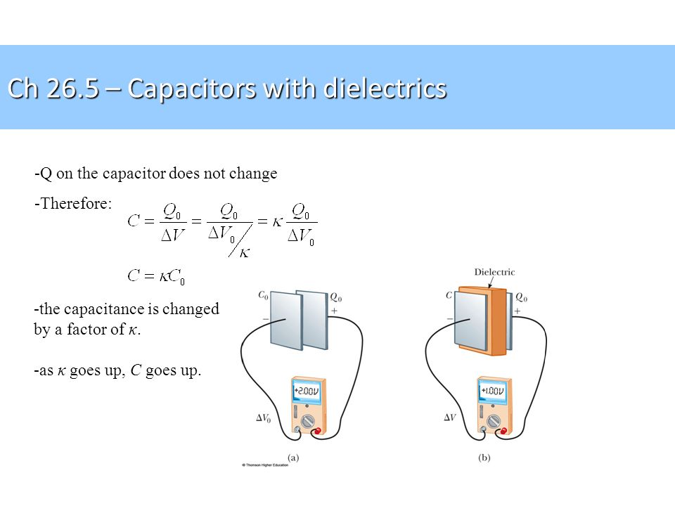 -Q on the capacitor does not change -Therefore: -the capacitance is changed by a factor of κ. -as κ goes up, C goes up. Ch 26.5 – Capacitors with diel