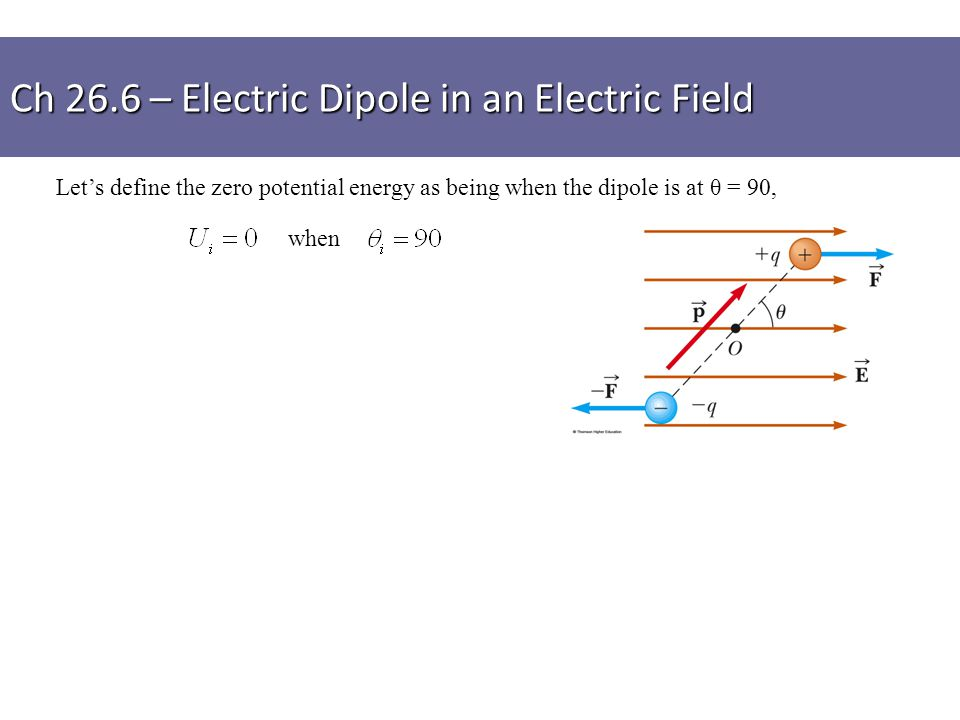 Let's define the zero potential energy as being when the dipole is at θ = 90, when Ch 26.6 – Electric Dipole in an Electric Field