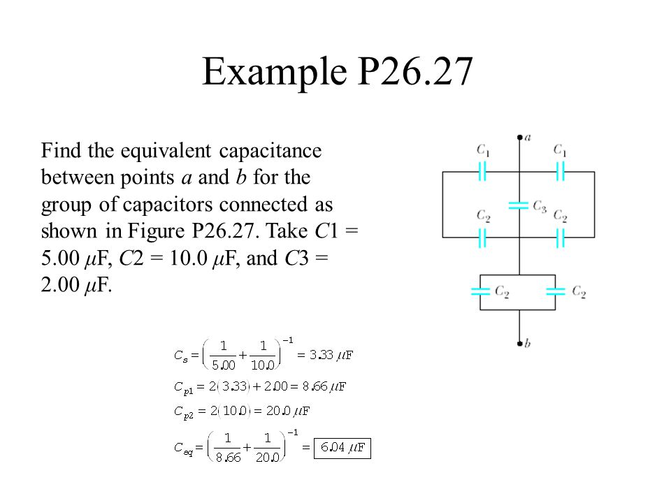 Example P26.27 Find the equivalent capacitance between points a and b for the group of capacitors connected as shown in Figure P26.27. Take C1 = 5.00