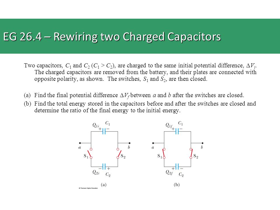 Two capacitors, C 1 and C 2 (C 1 > C 2 ), are charged to the same initial potential difference, ΔV i. The charged capacitors are removed from the batt