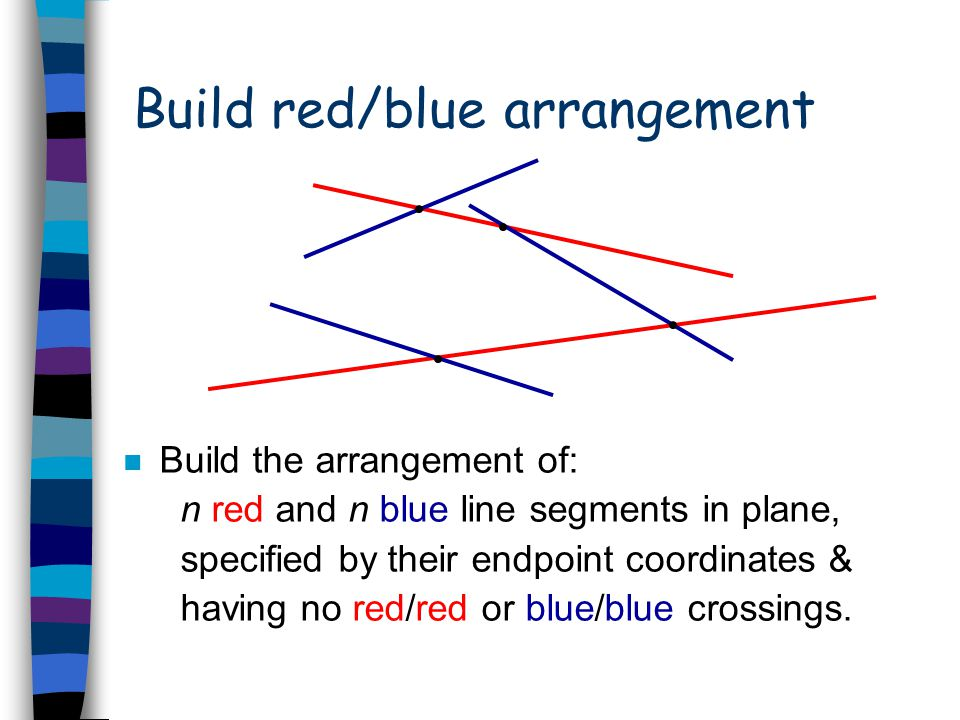 Three problems in the plane n Polygon clipping (graphics) n Boolean operations (CAD) n Map overlay (GIS)