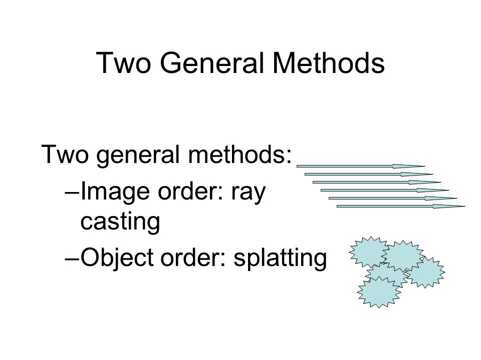 Two General Methods Two general methods: –Image order: ray casting –Object order: splatting