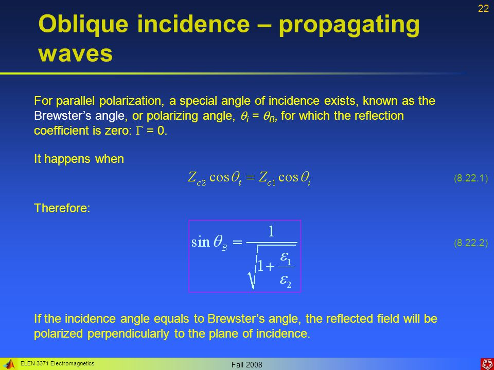 ELEN 3371 Electromagnetics Fall 2008 22 Oblique incidence – propagating waves For parallel polarization, a special angle of incidence exists, known as
