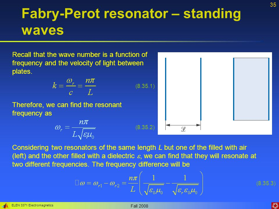 ELEN 3371 Electromagnetics Fall 2008 35 Fabry-Perot resonator – standing waves Recall that the wave number is a function of frequency and the velocity