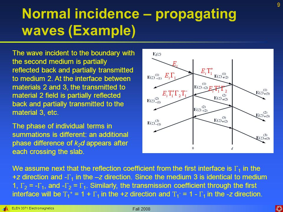 ELEN 3371 Electromagnetics Fall 2008 9 Normal incidence – propagating waves (Example) The wave incident to the boundary with the second medium is part