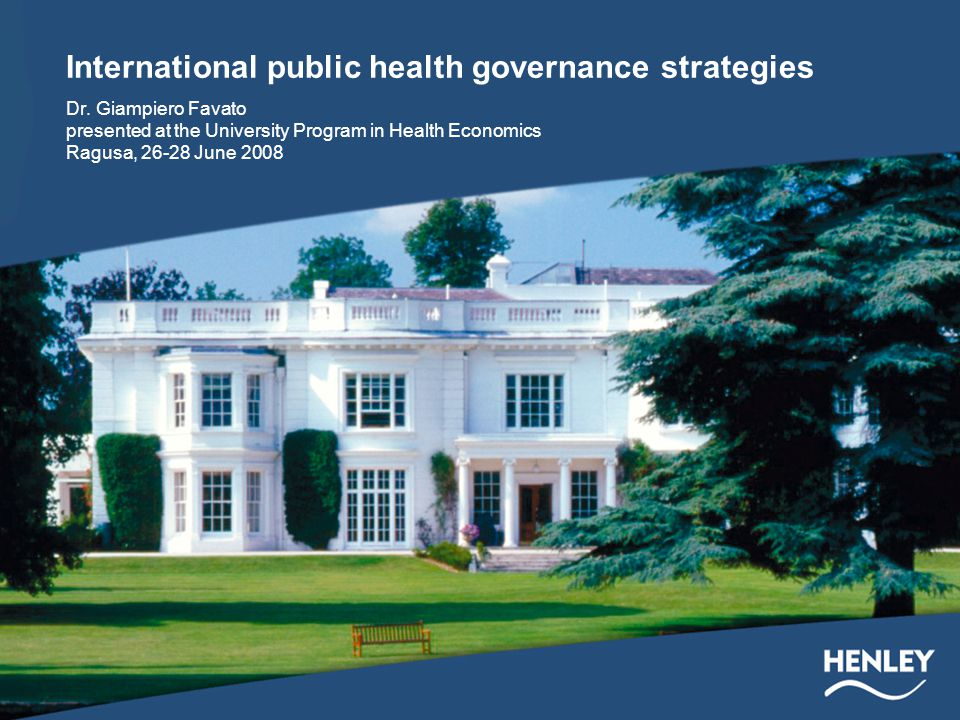 International public health governance strategies Dr.